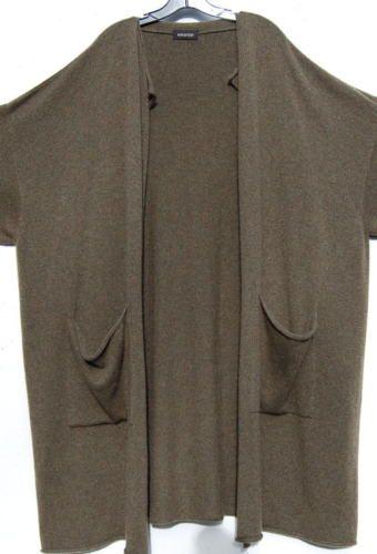 Новый оливковый Eskandar средний вес кашемир драпировка воротник длинный свитер пальто $2690