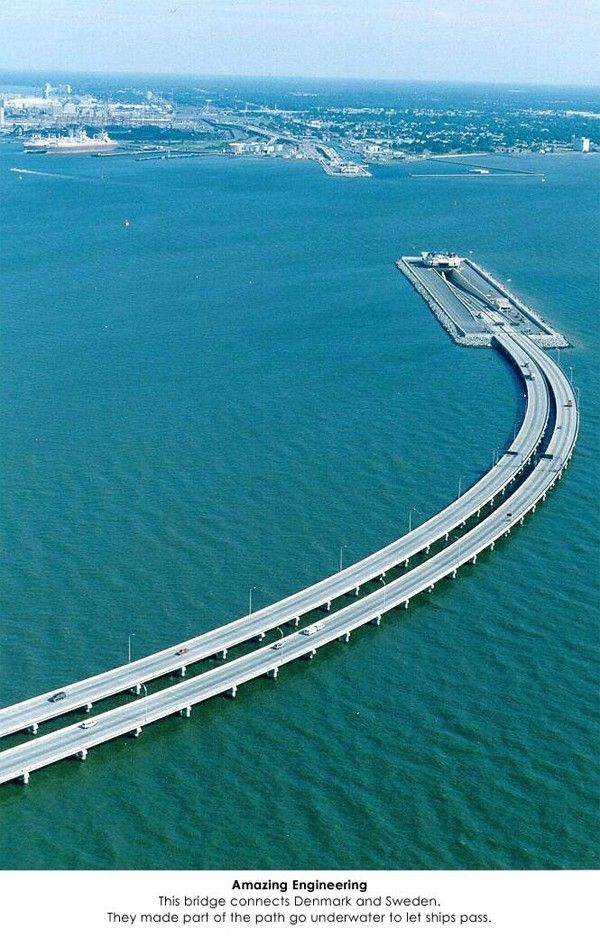 Amazing Engineering - This bridge connects Denmark and Sweden. They made part of the path go underwater to let ships pass.: Connects Denmark, Sweden, Bucket List, Favorite Places, Underwater, Travel, Bridges