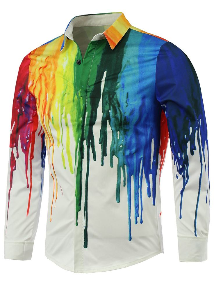 Colorful Paint Dripping Print Covered Button Front Long Sleeve Shirt 22b67a97d32f