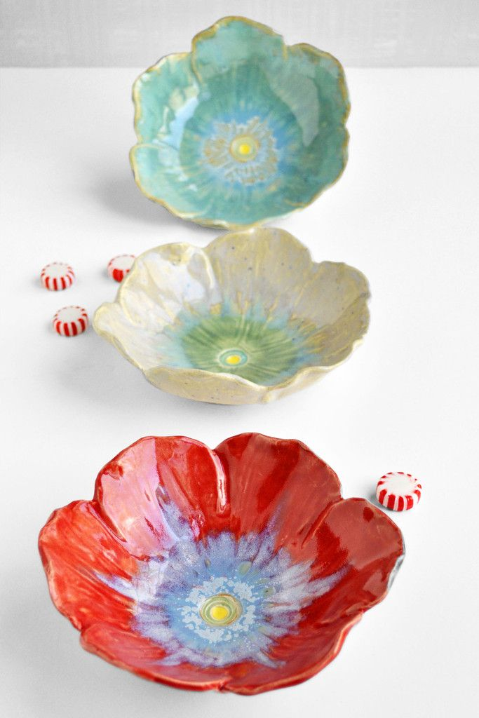 Poppy Bowls hand built from Lee Wolfe Pottery