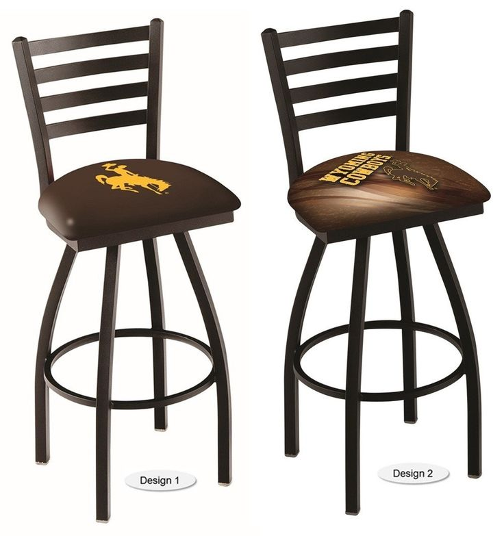 The NCAA officially licensed Wyoming Cowboys Bar Stool has a defined ladder back style with a black wrinkle finish. Free shipping. Excellent quality. 2 designs. Visit sportsfansplus.com for details.