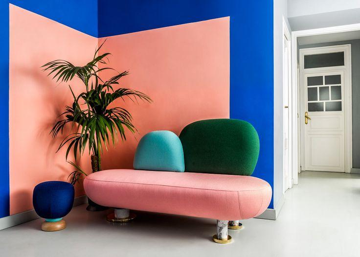 Masquespacio's colourful interior and branding for its own studio
