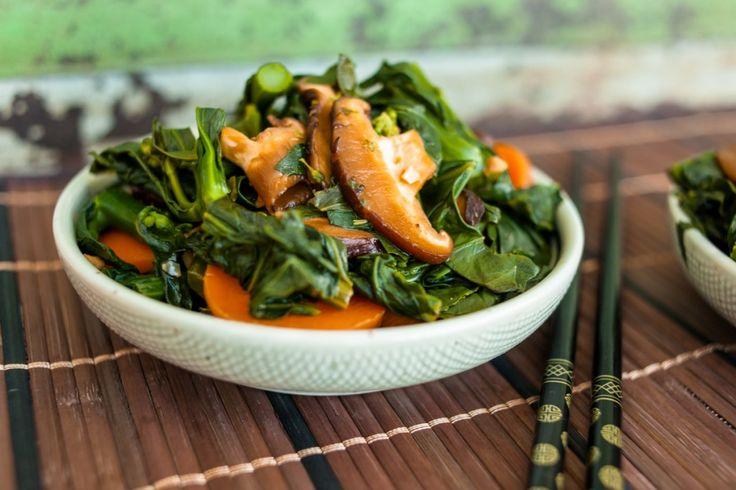Malaysian Kailan (greens, carrots, mushrooms in a light soy sauce)