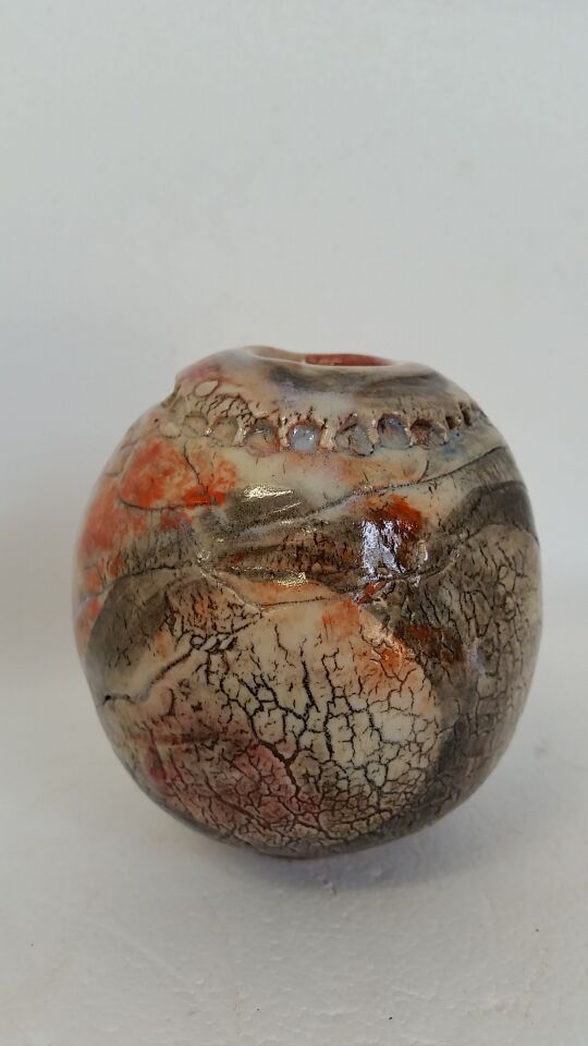 2016. small pot. oxides, washes, stains, cone 9 oxidation