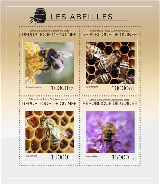Post stamp Guinea GU 14403 aBees (Bombus terrestris, {…}, Apis mellifera)