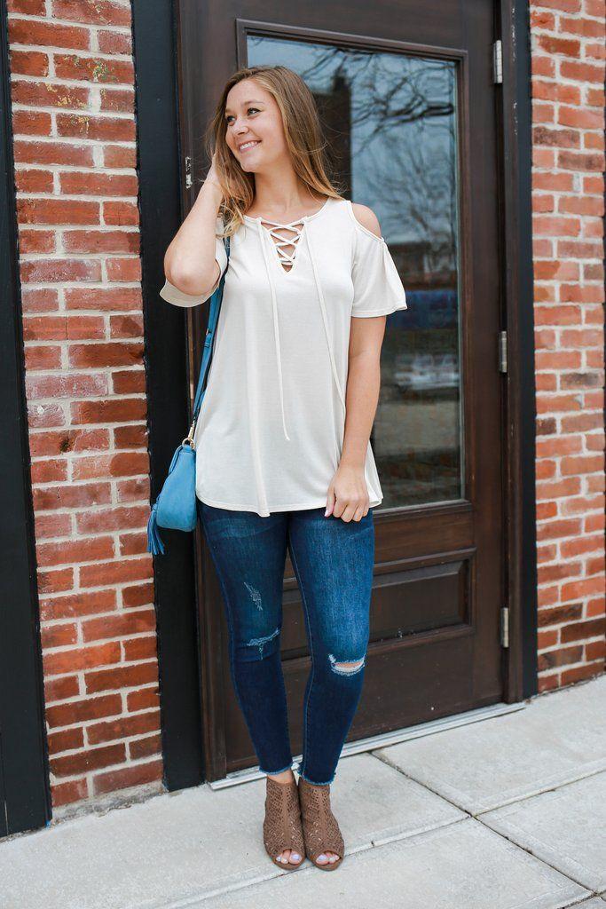 Cold Shoulder Short Sleeve Lace Up Neckline Detail Top – UOIOnline.com: Women's Clothing Boutique