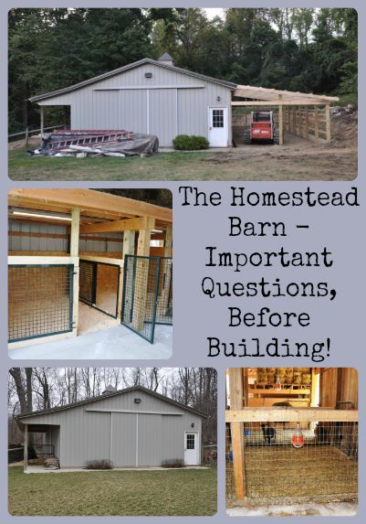 Describes things to consider before building a barn for the homestead or farm.