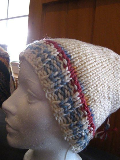 Hand knitted Hats available at East Wind Boutique Cooperative (Dalhousie NB, Canada)