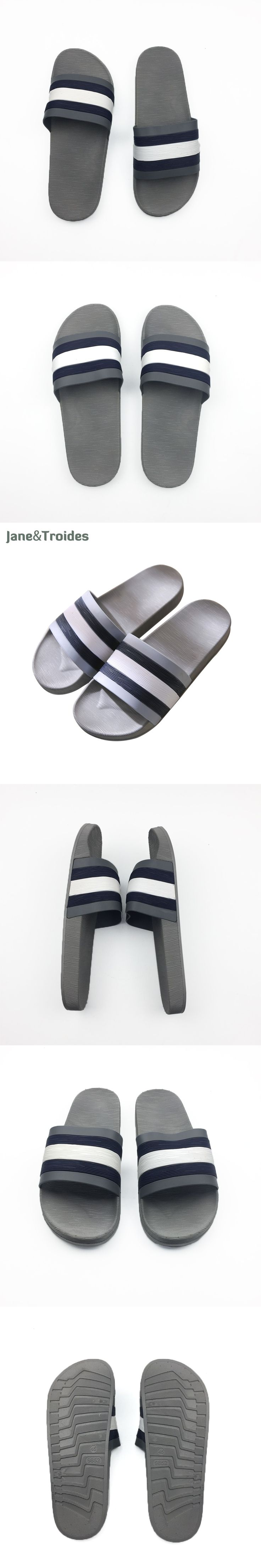 Jane & Troides Summer Non-slip Men Slippers Indoor Outdoor Soft Comfortable Flip Flops Striped Casual Sandals Fashion Man Shoes
