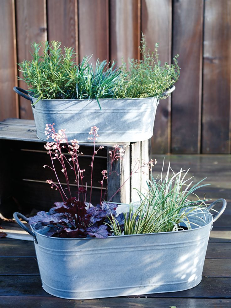 Two Aged Zinc Troughs NEW - Outdoor Living