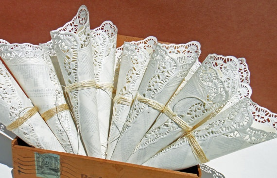 Vintage Paper Lace Favor Cones by greentrikepress on Etsy, $4.00