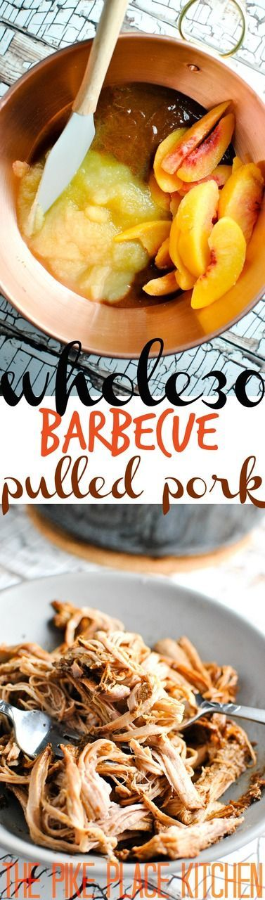 an easy & delicious whole30 pulled pork recipe with a grilled peach barbecue sauce! we love this recipe for an easy weeknight meal or for a quick solution to meal planning woes! | thepikeplacekitch...