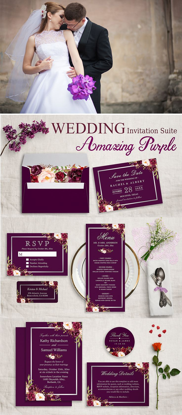 wildflower wedding invitation templates%0A A Plum Purple Floral Silver Gray Invitation Suite Invitation Suite  with  items from invitations to