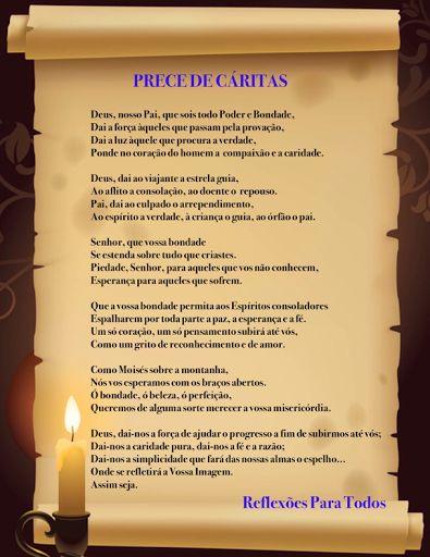 """Acesse a """"Prece de Cáritas"""" (outra imagem e com link para o vídeo, na voz de Cid Moreira) #oracao #espiritismo"""