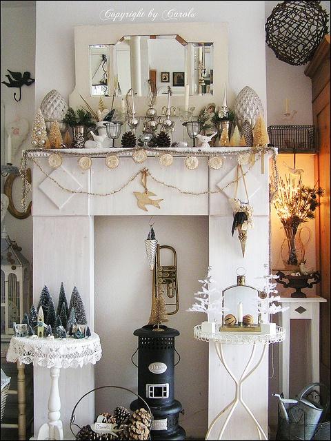 White Vintage Christmas Mantle December 2010