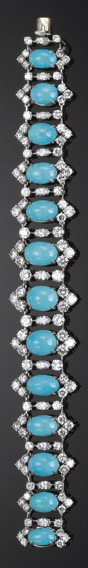 GOLD, TURQUOISE AND DIAMOND BRACELET, 1970S by lessie