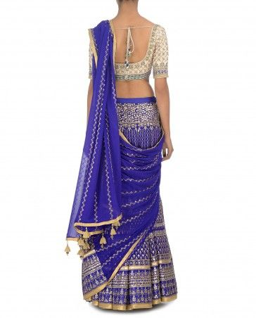 Gota Embellished Royal Blue Lengha Sari
