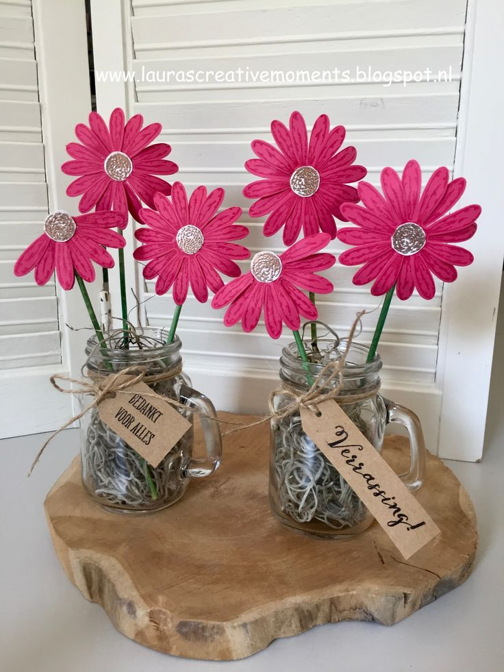 Daisy Delight, Stampin' Up! - Daisies in a mini mason jar - a little gift idea/paper flowers