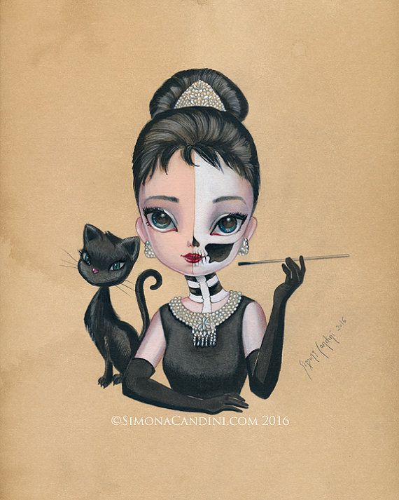 Skully Audrey Hepburne LIMITED EDITION print signed numbered Simona Candini lowbrow pop surreal big eyes skull pinup girl goth art Hollywood