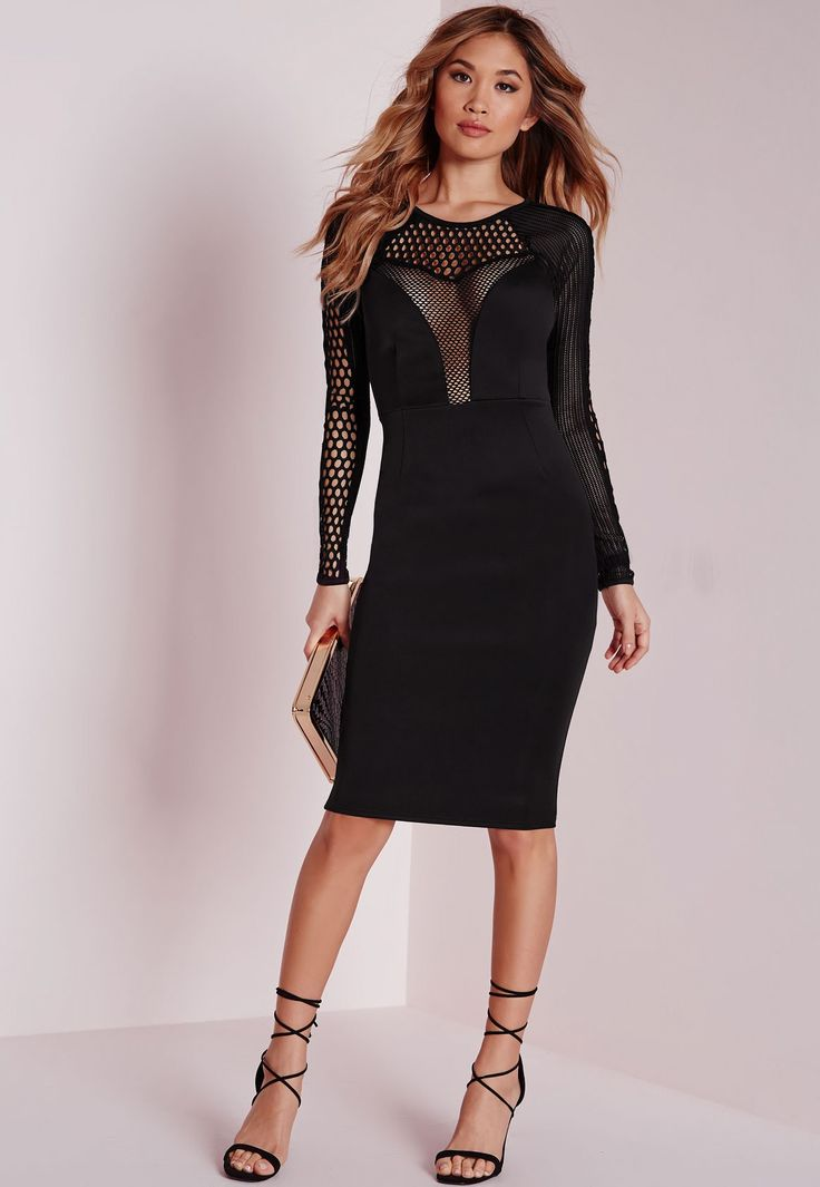 Hot damn girl, you're goina turn some heads in this one. This black midi dress in figure flattering fabric is both sexy and classy. With long sleeve detail and mesh insert features, this dress will have you best dressed for sure. Style with...
