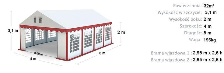 Namiot Handlowy Imprezowy 4m x 8m (32m²) całoroczny STANDARD MAX / Commercial Tent 4x8 Winter