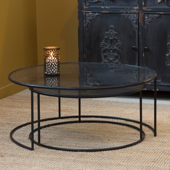 Table Basse Industrielle Gigogne Ronde Plateau Verre Table Basse Industrielle Table Basse Table Basse Gigogne