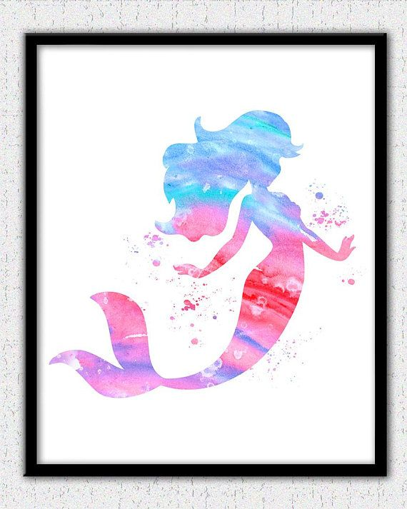 Mermaid print pink Mermaid watercolor print Ariel print