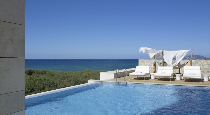 The Romanos, Costa Navarino, Greece: The Royal Villa Koroni suite is situated on the edge of the Dunes Beach, with sparkling views of the Ionian Sea.