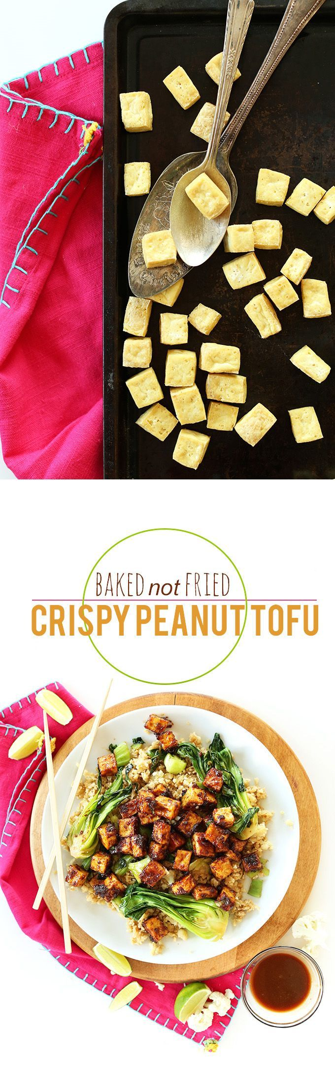 Baked Not Fried Crispy Tofu! 5-ingredient glaze, cauliflower rice, sauteed veggies - so healthy and delicious!