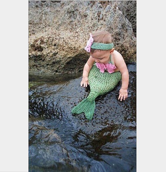 The little mermaid Newborn Girl Baby Crochet Knit Costume by walm