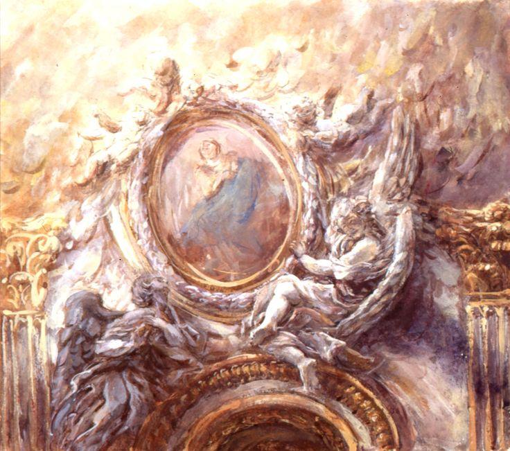 Les anges de la Chiesa Nuova; vue de la nef; 30x30 cm; tempéra sur papier; 1994; collection privée, France