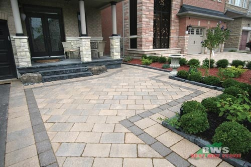 #outdoor #entrance: Best Way Stone > Paver: Bellagio Antico (Beige Mix) / Accent:  Bellagio Antico (Ultra Black) available at our store at 3500 Mavis Rd, Mississauga, ON L5C 1T8