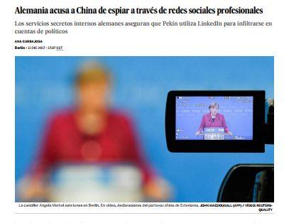 Alemania acusa a China de espiar a través de redes sociales profesionales / @el_pais | #readyfordigitalprivacy #readyforsocialmedia