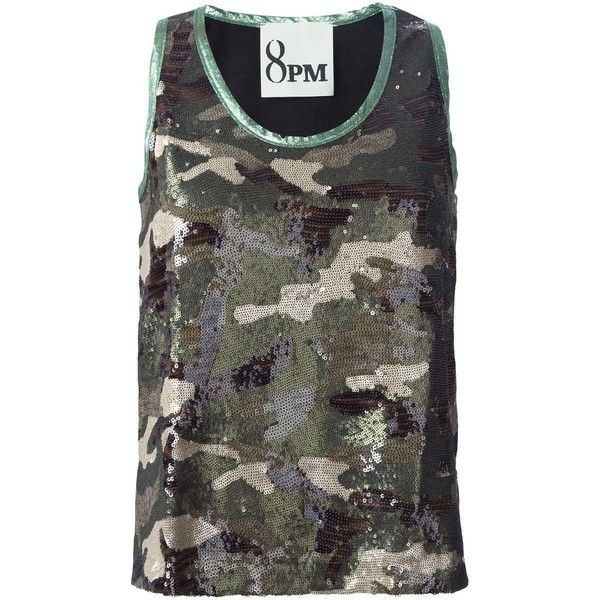 8pm Sequined Camouflage Tank Top (360 CAD) ❤ liked on Polyvore featuring tops, black, camoflauge tank top, black singlet, camo tank, black sequin top and sequin tank top