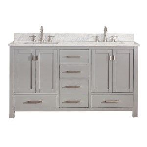 Modero Chilled Gray 48 Inch Vanity Combo With White Carrera Marble Top Vanities Bathroom