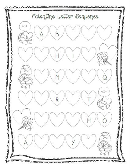 valentine 39 s day letter sequencing activity printable preschool preschool printables and. Black Bedroom Furniture Sets. Home Design Ideas