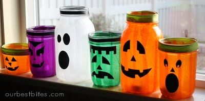 Boo-saw this in a magazine and have already started collecting jars.  I'm also planning to do some Christmas themed ones for the craft table at our church fair.: Holiday, Halloween Decorations, Masons, Mason Jar Lanterns, Mason Jars, Halloween Ideas, Halloween Jars