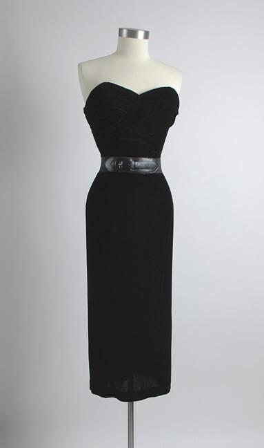 50's Dress: Velvet Ruched, Cocktails Dresses, Velvet Cocktails, Hemlock Vintage, Bodice Cocktails, Black Velvet, Vintage 1950S Dresses, 1950 S Black, Vintage Clothing
