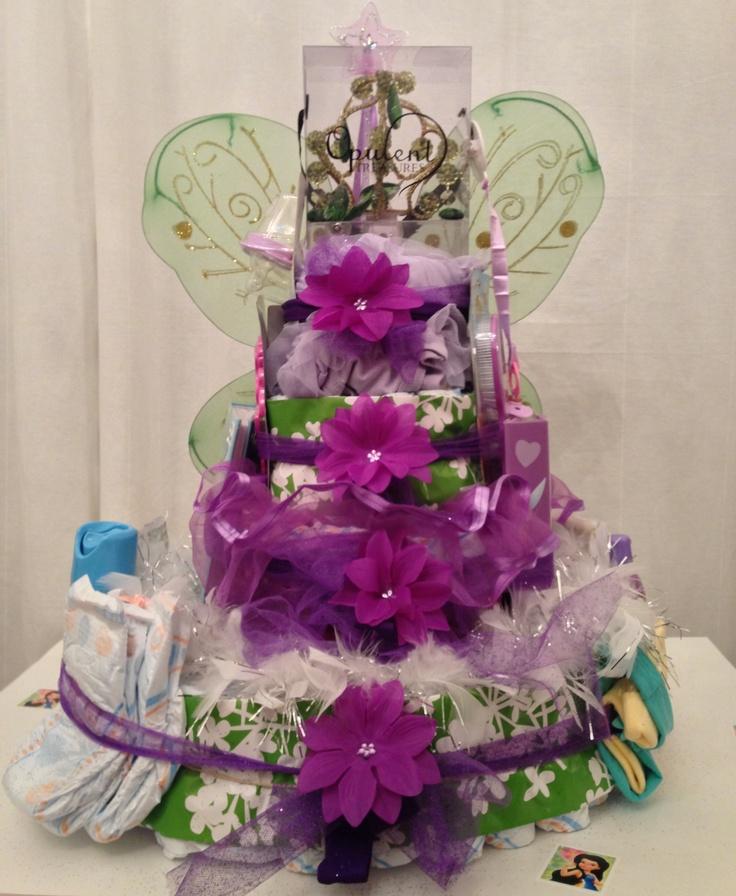 tinker bell fairies inspired diaper caketinkerbell teas baby shower