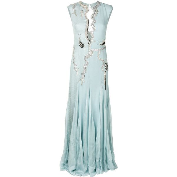 Temperley London Waterlily long dress ($7,785) ❤ liked on Polyvore featuring dresses, grey, gray dress, long grey dress, temperley london, temperley london dress and long dresses