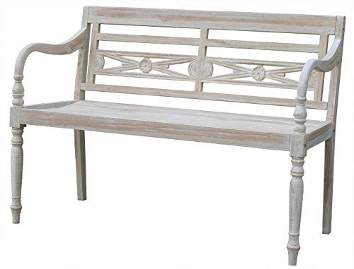 KMH®, 2-sitzer Gartenbank im Shabby Chic Stil (whitewashed) - ECHT TEAK! - (#102142)