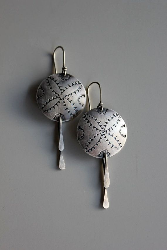 Blazing Stars sterling silver earrings by gallerydarrow ...  I love the folded paddle on the bottom.