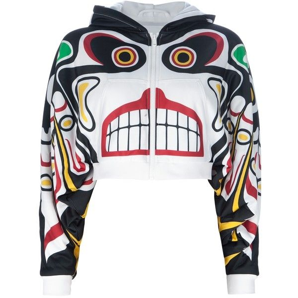 ADIDAS ORIGINALS BY JEREMY SCOTT totem pole hooded sweater ($415) ❤ liked on Polyvore
