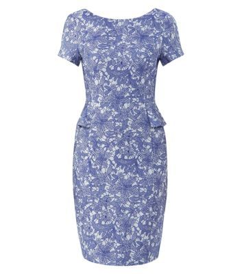 Blue Jacquard Lace Peplum Pencil Dress