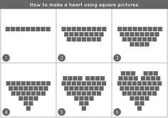 How to make a heart with square pictures #instagram #heart #pictures