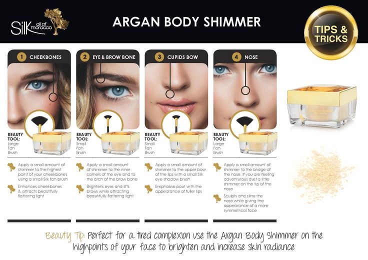 Silk Oil of Morocco's Argan Body Shimmer is infused with Cold Pressed Certified Organic Argan Oil which is rich in vitamins, antioxidants, omega-6 and omega-9 e