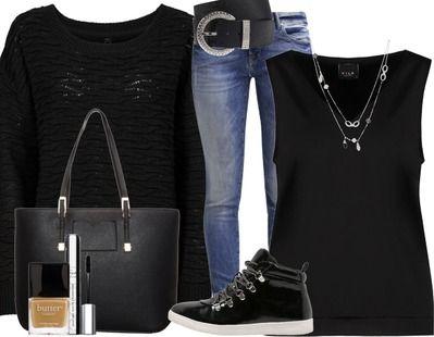 On adore ces baskets noires montantes qui donne à cette tenue un look casual. A retrouver ici: http://stylefru.it/s963890 #casual #baskets #noir