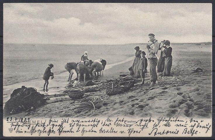 #38# AK Memel Fischer am Strand, gelaufen 1907