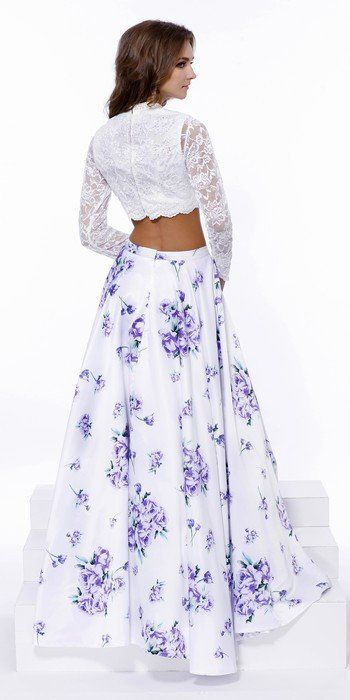 Two Pieces Prom Cocktail Maxi Dress