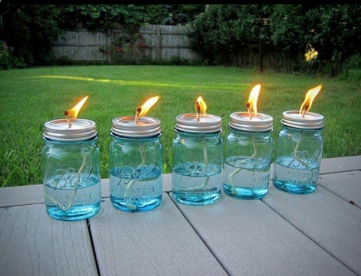 GREAT IDEA!! NO BUGS!! All you need is a package of Mason jars, some cotton string and some liquid citronella (find it in big jugs at any home-improvement store and even some grocery stores). Use a hammer and nail to poke a hole in the top of the lid, then pour in the citronella, put the top on and drop in the wick. Allow the string about 10 minutes to soak up some oil. - ruggedthug